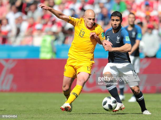 midfielder Aaron Mooy of Australia and forward Nabil Fekir of France during a Group C 2018 FIFA World Cup soccer match between France and Australia...
