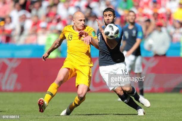 midfielder Aaron Mooy of Australia National team and forward Nabil Fekir of France National team duringa Group C 2018 FIFA World Cup soccer match...