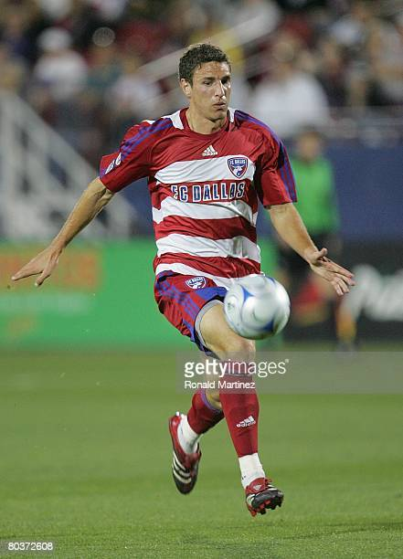 Midfielder Aaron Pitchkolan of the FC Dallas moves the ball against the Los Angeles Galaxy during a charity preseason match on March 15 2008 at Pizza...