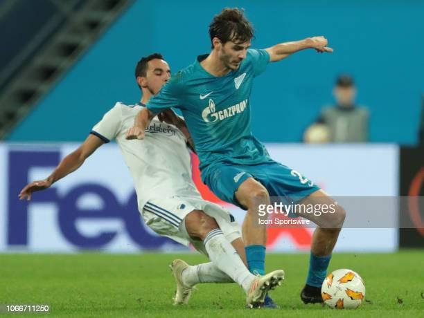 midfielder Aleksandr Erokhin of FC Zenit in action midfielder Carlos Zeca of FC Kopenhagen during UEFA Europe League Group Stage Group C match...