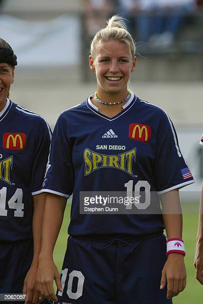 Midfielder Aly Wagner of the San Diego Spirit is introduced to the audience during the WUSA match against the Atlanta Beat at Torero Stadium on May...
