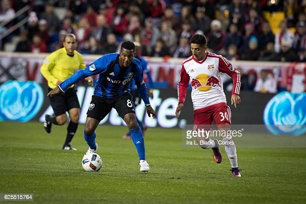 Midfielder and Captain Patrice Bernier of the Montreal Impact drives against Red Bulls player Gonzalo Veron during the second leg of the 2016 MLS...