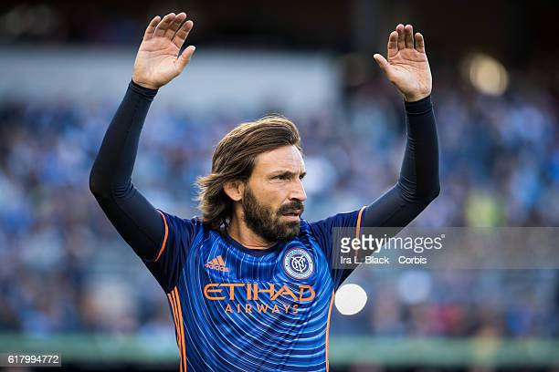 Midfielder Andrea Pirlo gets ready to take a penalty kick during the Soccer 2016 Major League Soccer final season match between NYCFC vs Columbus...