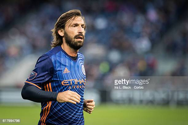 Midfielder Andrea Pirlo goes to take the corner kick during the Soccer 2016 Major League Soccer final season match between NYCFC vs Columbus Crew on...