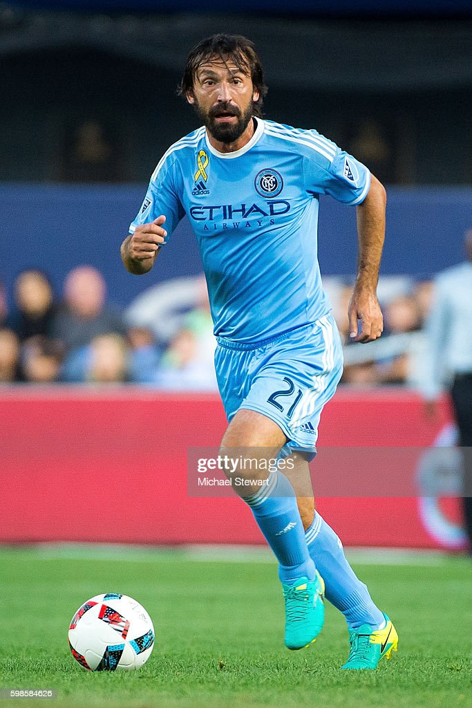 Midfielder Andrea Pirlo #21 of New York City FC controls the ball during the match vs D.C. United at Yankee Stadium on September 1, 2016 in New York City. New York City FC defeats D.C. United 3-2.