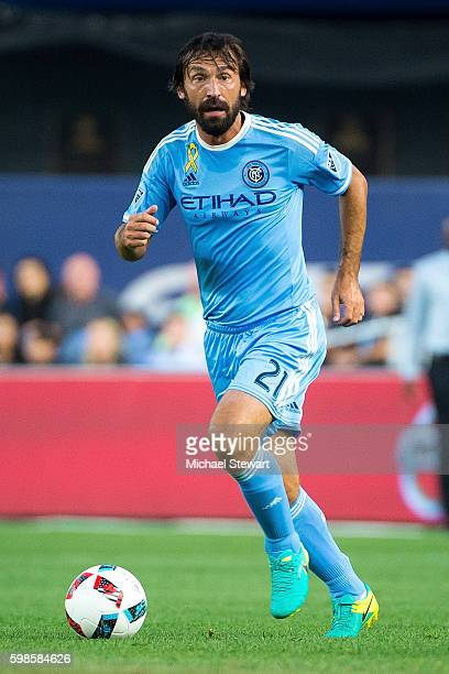 Midfielder Andrea Pirlo of New York City FC controls the ball during the match vs DC United at Yankee Stadium on September 1 2016 in New York City...