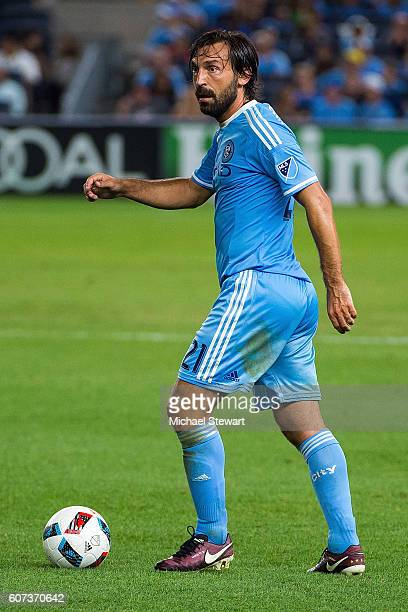 Midfielder Andrea Pirlo of New York City FC controls the ball during the match vs FC Dallas at Yankee Stadium on September 17 2016 in New York City...