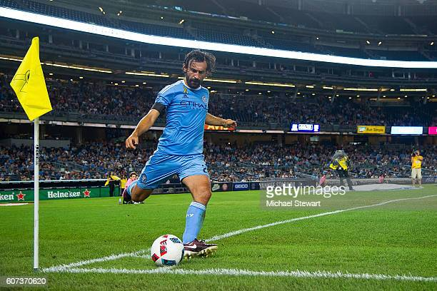 Midfielder Andrea Pirlo of New York City FC takes a corner kick during the match vs FC Dallas at Yankee Stadium on September 17 2016 in New York City...