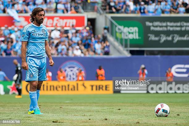 Midfielder Andrea Pirlo of New York City FC takes a free kick during the match vs New York Red Bulls at Yankee Stadium on July 3 2016 in New York...
