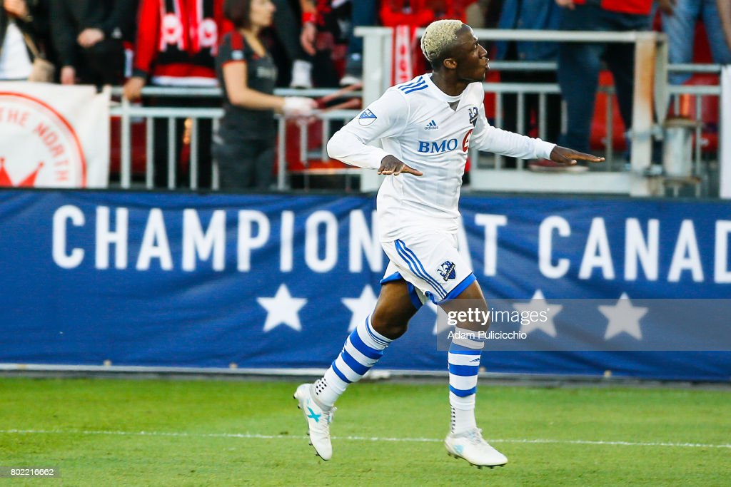 Midfielder Ballou Jean-Yves Tabla #13 of the Montreal Impact scores against Toronto FC in the 1st half during Leg 2 of the 2017 Canadian Championship on June 27, 2017 at BMO Field in Toronto, Canada.