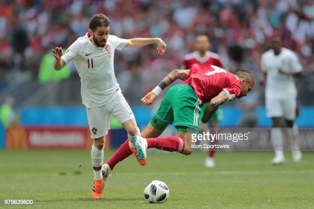 midfielder Bernardo Silva of Portugal and defender Manuel Da Costa of Morocco during a Group B 2018 FIFA World Cup soccer match between Portugal and...