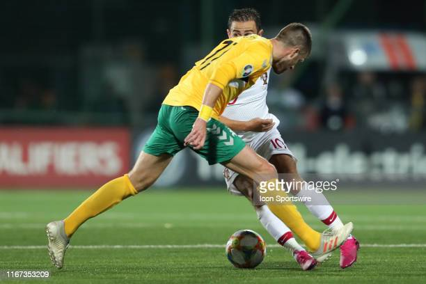 Midfielder Bernardo Silva of Portugal National Team and Forward Domantas Simkus of Lithuania National team during UEFA EURO 2020 Qualifying match...
