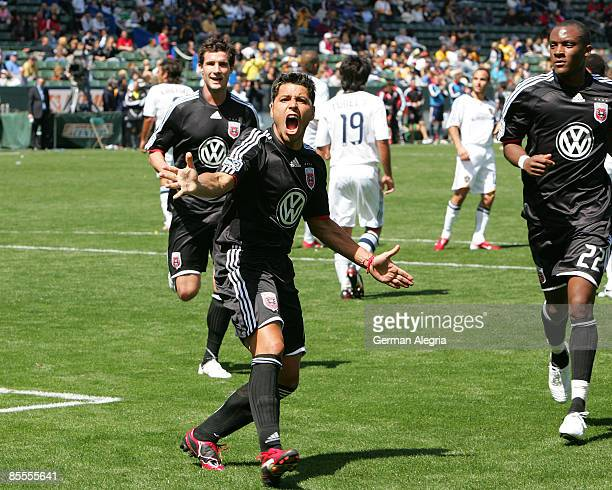 Midfielder Christian Gomez of DC United celebrates his goal scored against the Los Angeles Galaxy during their MLS game at Home Depot Center on March...