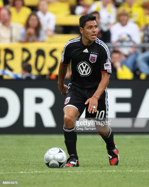 Midfielder Christian Gomez of DC United plays the ball against the Crew during the match at Columbus Crew Stadium on July 4, 2009 in Columbus, Ohio.