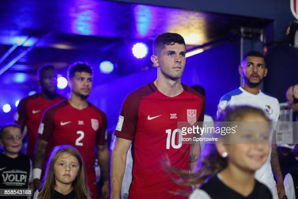 USA midfielder Christian Pulisic enters the pitch before the World Cup Qualifying soccer match between the US Mens National Team and Panama on...