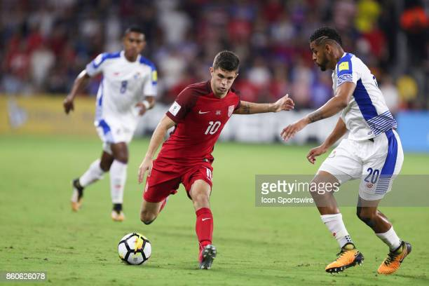 USA midfielder Christian Pulisic kicks the ball during the World Cup Qualifying soccer match between the US Mens National Team and Panama on October...