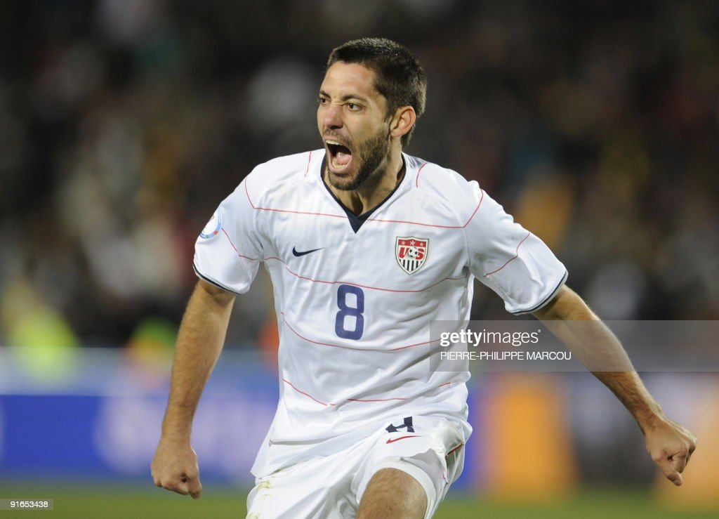US midfielder Clint Dempsey celebrates after he scored the first goal during the Fifa Confederations Cup final football match United States against Brazil on June 28, 2009 at the Ellis Park stadium in Johannesburg.
