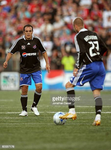 Midfielder Cuauhtemoc Blanco of Chicago Fire awaits a pass from midfielder David Beckham of LA Galaxy during the 2008 Pepsi MLS All Star Game between...
