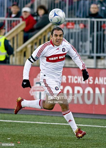 Midfielder Cuauhtemoc Blanco of the Chicago Fire chases the play during the match against the Toronto FC on October 18 2008 at BMO Field in Toronto...