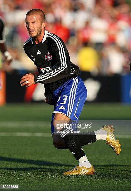 Midfielder David Beckham of L.A. Galaxy runs during the 2008 Pepsi MLS All Star Game between the MLS All Stars and West Ham United at BMO Field on...