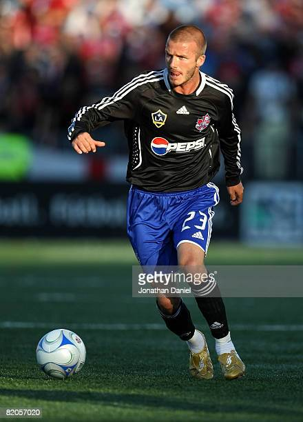 Midfielder David Beckham of L.A. Galaxy with the ball during the 2008 Pepsi MLS All Star Game between the MLS All Stars and West Ham United at BMO...