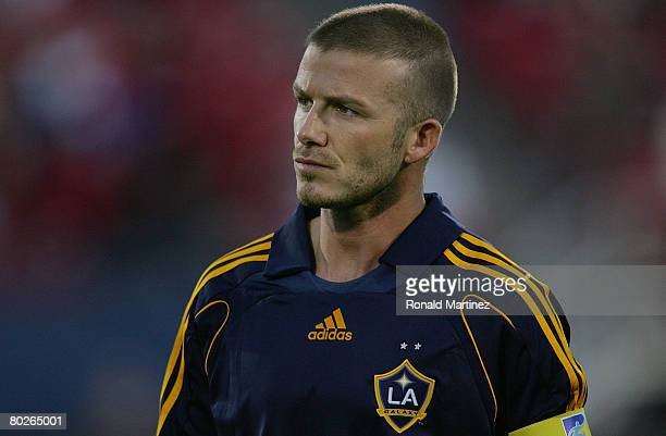 Midfielder David Beckham of the Los Angeles Galaxy is seen during a charity preseason match on March 15 2008 at Pizza Hut Park in FriscoTexas