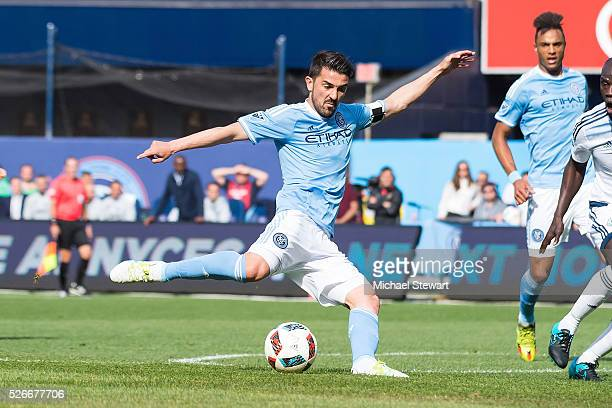 Midfielder David Villa of New York City FC scores a goal during the match vs Vancouver Whitecaps at Yankee Stadium on April 30 2016 in New York City...
