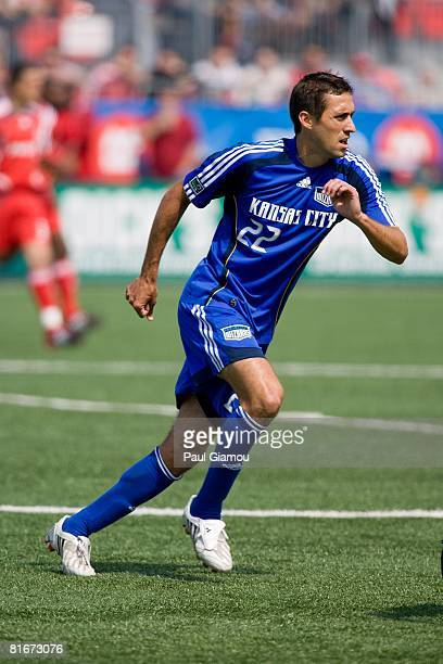 Midfielder Davy Arnaud of the Kansas City Wizards watches the play during the match against Toronto FC on June 21 2008 at BMO Field in Toronto Canada