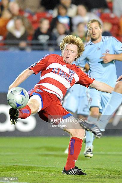 Midfielder Dax McCarty of FC Dallas kicks the ball in front of the Colorado Rapids goal at Pizza Hut Park on October 17, 2009 in Frisco, Texas.