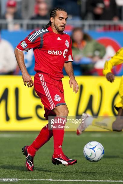 Midfielder Dwayne De Rosario of the Toronto FC controls the play during the match against the Columbus Crew at BMO Field on May 2 2009 in Toronto...