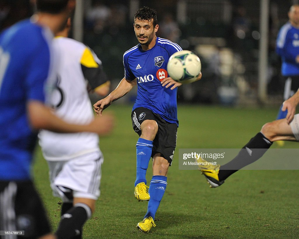 Midfielder Felipe Martins #7 of the Montreal Impact passes upfield against the Columbus Crew in the final round of the Disney Pro Soccer Classic on February 23, 2013 at the ESPN Wide World of Sports Complex in Orlando, Florida.