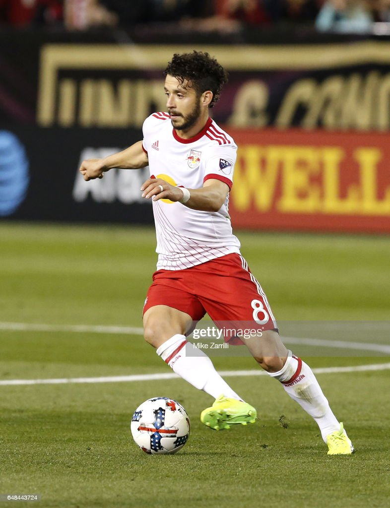 Midfielder Felipe #8 of the New York Red Bulls dribbles during the game against Atlanta United at Bobby Dodd Stadium on March 5, 2017 in Atlanta, Georgia.