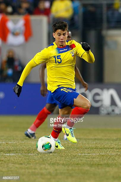 midfielder Fernando Gaibor of Ecuador in action against Argentina during a friendly match at MetLife Stadium on November 15 2013 in East Rutherford...
