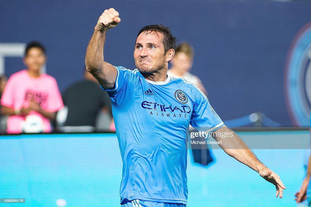 Midfielder Frank Lampard #8 of New York City FC celebrates after scoring a goal during the match vs D.C. United at Yankee Stadium on September 1, 2016 in New York City. New York City FC defeats D.C. United 3-2.