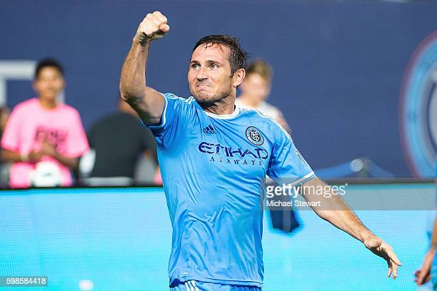 Midfielder Frank Lampard of New York City FC celebrates after scoring a goal during the match vs DC United at Yankee Stadium on September 1 2016 in...