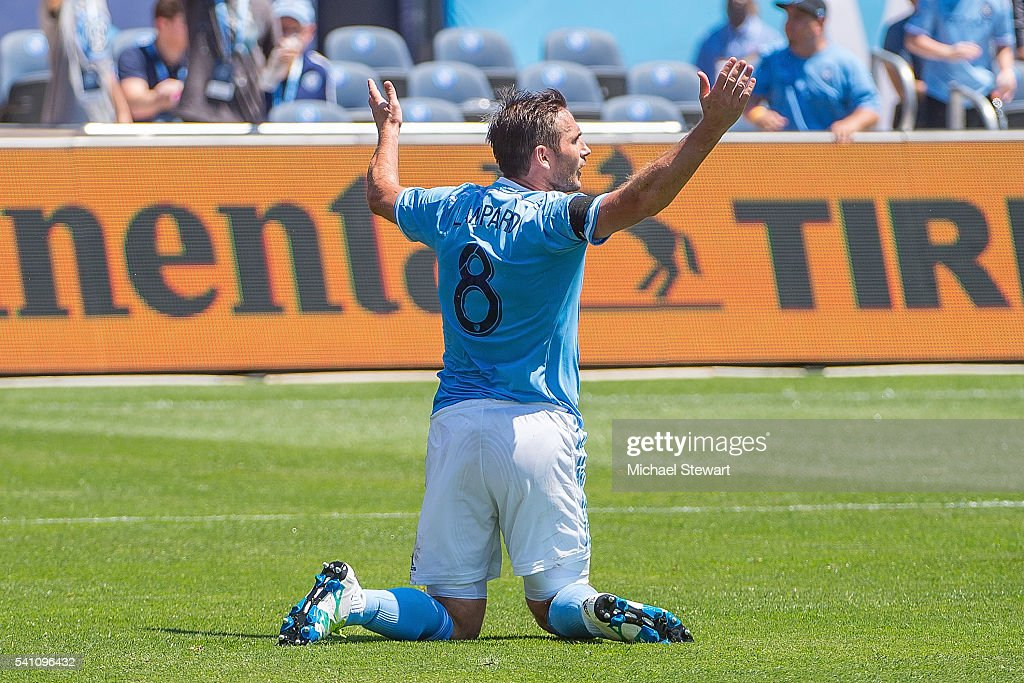 Midfielder Frank Lampard #8 of New York City FC complains for a foul during the match vs Philadelphia Union at Yankee Stadium on June 18, 2016 in New York City. New York City FC defeats Philadelphia Union 3-2.