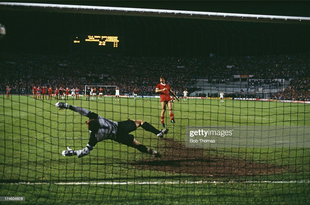 Midfielder Graeme Souness beats Roma goalkeeper Franco Tancredi to score Liverpool's second penalty in the shoot-out following a 1-1 draw after extra time in the European Cup Final at the Stadio Olimpico, Rome, 30th May 1984. Liverpool won the penalty shoot-out 4-2.