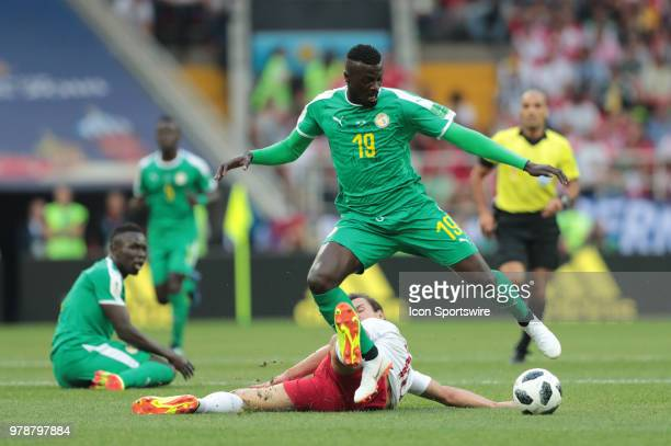 midfielder Grzegorz Krychowiak of Poland and forward Sadio Mane of Senegal during a Group H 2018 FIFA World Cup match between Poland and Senegal on...