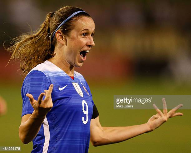 Midfielder Heather O'Reilly of the United States celebrates after scoring in the first half during the friendly match against Costa Rica at Finley...