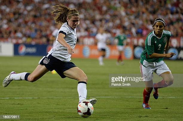 Midfielder Heather O'Reilly of USA against Mexico during the second half of an International Friendly at RFK Stadium on September 3 2013 in...