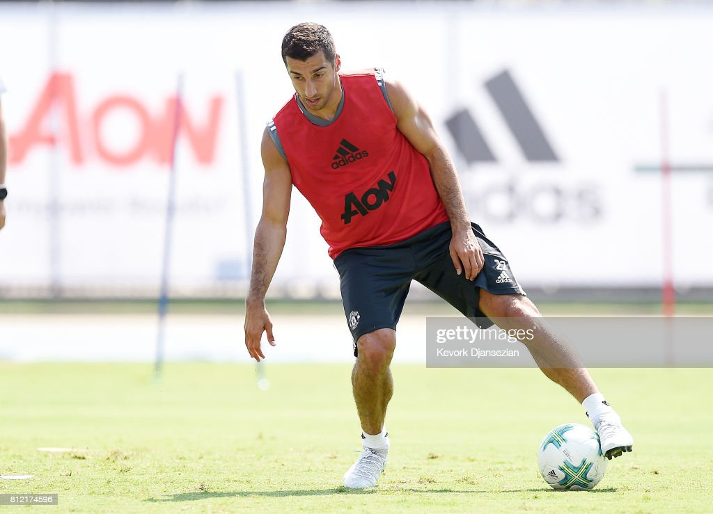 Midfielder Henrikh Mkhitaryan #22 of Manchester United during a training session for Tour 2017 at UCLA's Drake Stadium July 10, 2017, in Los Angeles, California.