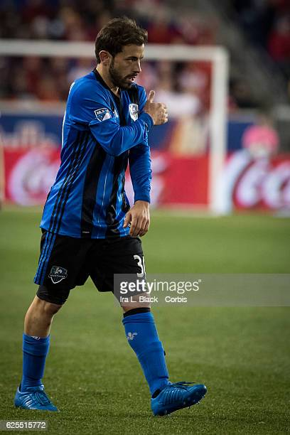 Midfielder Hernán Bernardello of the Montreal Impact drives for the goal during the second leg of the 2016 MLS Eastern Region Conference Semifinal...