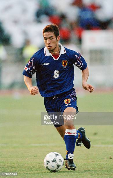 Midfielder Hidetoshi Nakata of the Japanese World Cup soccer team in action during a qualification match against the United Arab Emirates for the...