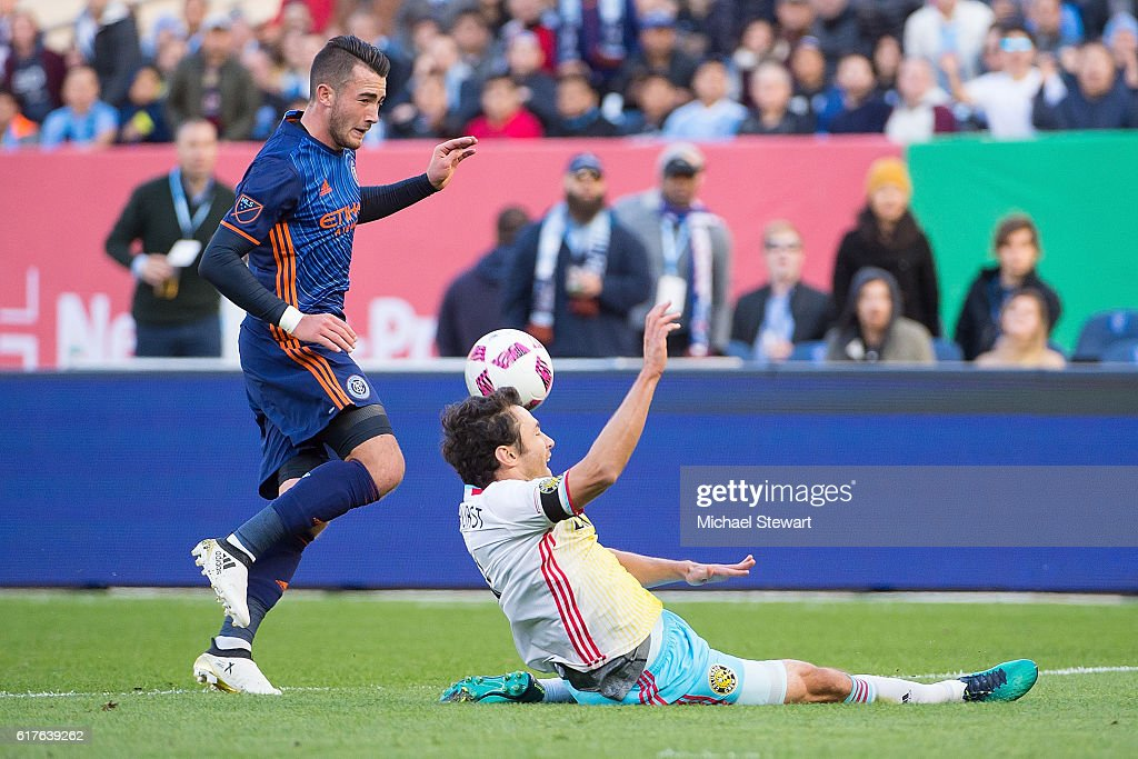 Midfielder Jack Harrison #11 of New York City FC and defender Nicolai Naess #24 of Columbus Crew SC vie for the ball during the match at Yankee Stadium on October 23, 2016 in New York City. New York City FC defeats Columbus Crew SC
