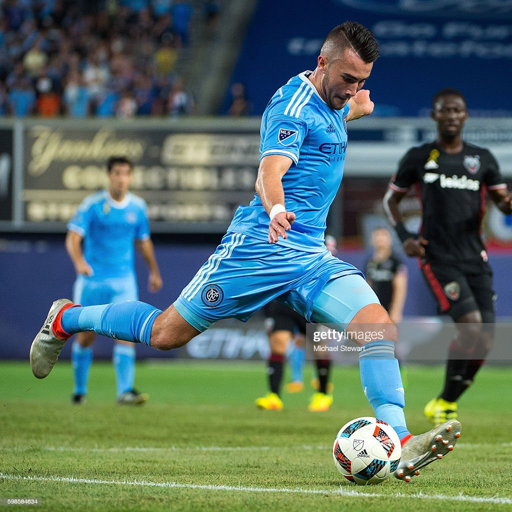 Midfielder Jack Harrison #11 of New York City FC takes a shot on goal during the match vs D.C. United at Yankee Stadium on September 1, 2016 in New York City. New York City FC defeats D.C. United 3-2.