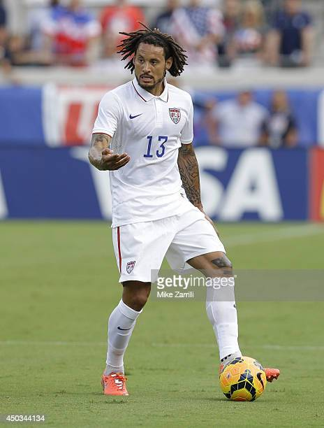 Midfielder Jermaine Jones of the United States dribbles during the international friendly match against Nigeria at EverBank Field on June 7 2014 in...