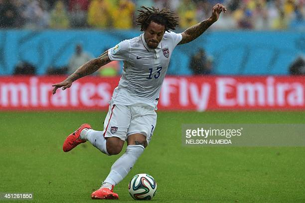 Midfielder Jermaine Jones plays the ball during a Group G football match between US and Germany at the Pernambuco Arena in Recife during the 2014...