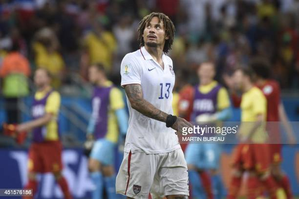 US midfielder Jermaine Jones reacts at the end of the Round of 16 football match between Belgium and USA at Fonte Nova Arena in Salvador during the...