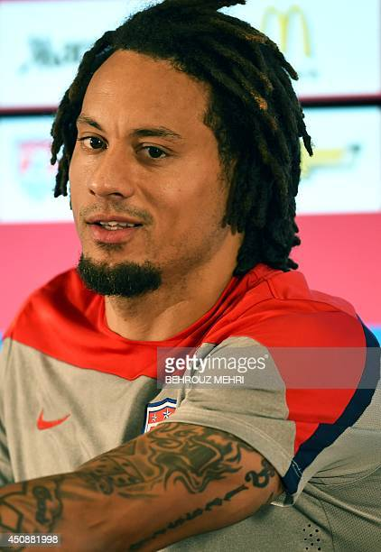 US midfielder Jermaine Jones speaks during a press conference at the Centro Tecnico Frederico Germano Menzen training ground in Sao Paulo on June 19...