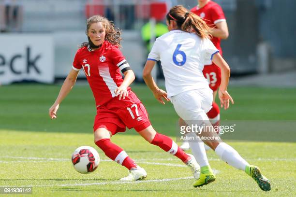 Midfielder Jessie Fleming of Team Canada defends the ball against Defender Carol Sánchez of Team Costa Rica in a exhibition match on June 11 2017 at...